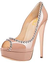 FSJ Women Fashion Peep Toe Platform Pumps High Heels Slip On Rivets Studded Dress Shoes Size 34-43 With 8 Color...