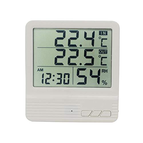 TMY Elektronisches Thermometer-Hygrometer mit hochpräziser Digitalanzeige und Temperatursonde für den Innen- und Außenbereich (Color : White, Größe : 10cm)