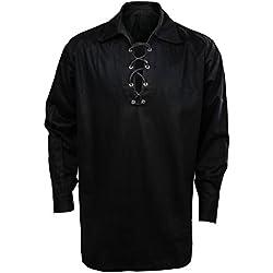 Cusfull Camisa Escocesa de Hombre Estilo Jacobite Kilt Medieval Manga Larga Disfraz Clasico de Edad Media de Escocia Ropa Vintage