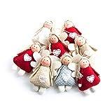SET 8 Stück Engelanhänger Schutzengel-Anhänger Engel 10 cm rot beige hellblau weiß Weihnachts-Deko Geschenkanhänger Stoffengel zum Aufhängen Glücksbringer Talismann mit Schnur give-away