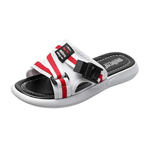Yvelands Damen Strand Sandalen Mode Männer Paare Casual Plattform Hausschuhe Outdoor Schuhe(Weiß,45)