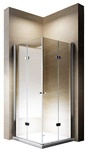 duschtrennwand eckeinstieg Duschkabine Eckeinstieg Falttür Nano Echtglas 8mm EX213-90 x 90 x 195 cm