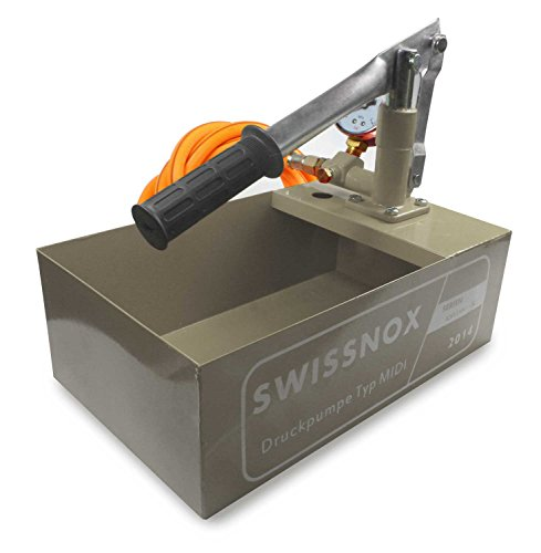 "Swissnox Solarbefüllpumpe Testpumpe bis 25 Bar 1/2\"" Anschluss mit Manometer (Grau)"