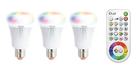 iDual JE0127083 3 Ampoules avec Télécommande Verre/Plastique Blanc E27