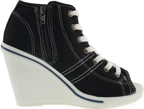 Maxstar 777–Fermeture Éclair latérale Bout ouvert en toile Wedge chaussures à talon Noir - noir