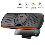 NETVIP Kit Mains Libres Bluetooth 4.2 Portable Voiture avec Instruction GPS,Musique, élimination du Bruit, Instalation sur Pare Soleil, Handsfree Bluetooth Car Kit en même Temps Pair 2 Phones