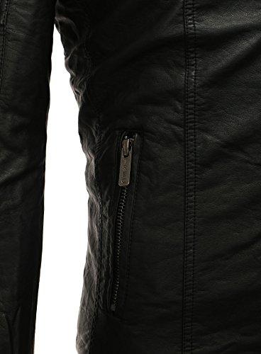Lederjacke Jacke Herren Kunstlederjacke Redbridge schwarz Männer Stehkragen Tailliert Slim Fit Schwarz