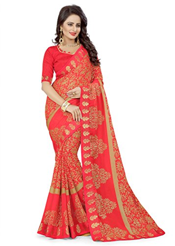 Oomph! Women's Printed Brasso Sarees - Rose Red
