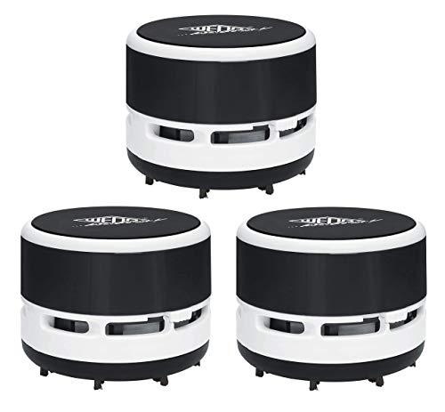 Wedo 20520101 Mini Tischstaubsauger, Bürsten, Abschraubbarer Auffangbehälter Höhe circa 6, 3 cm, Durchmesser 8, 5 cm, inkl. Batterien, schwarz/Weiß (3)