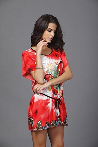 Blouse Mini Robe d'Eté Manches Chauve-souris Motif de Papillon pour Femme Rouge