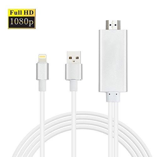 Lightning auf HDMI Adapter, Amytech 2 Meter Lightning zu HDMI Kabel Adapter für iPhone, iPad zu Spiegel auf Heimkino, Beamer, HDTV, Plug and Play Lightning Adapter (Silber 1,8 Meter) (Iphone Zu Tv Adapter)