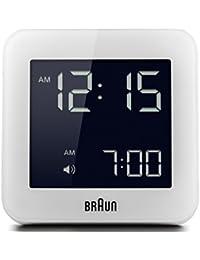 Réveil numérique Braun avec fonction snooze, écran LCD négatif, réglage rapide, bip d'alarme, en blanc, modèle BNC009WH.