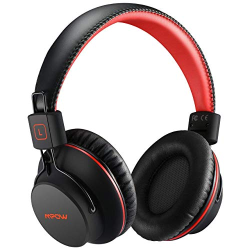 Mpow H1 Cuffie Bluetooth, Cuffie Bluetooth Over-Ear 4.1, Autonomia 20 Ore, Cuffie Wireless con Microfono e Hi-Fi Suono e Bassi Ricchi, Passiva Riduzione di Rumore, Cuffie per Celluallari/PC/TV-Rosso