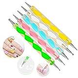 Xiton 5pcs Penne dotter per nail art attrezzi a doppia punta effetto marmoreo decorazioni unghie punteggiano set di strumenti penna nail art