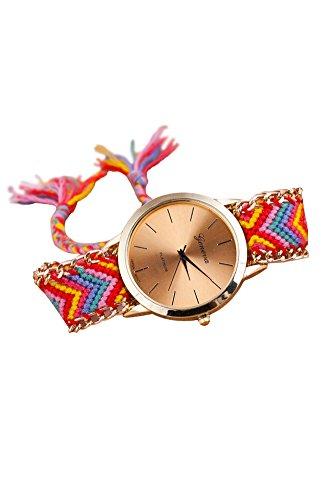 Reloj - GENEVA Reloj de pulsera de cadena trenzada de mujer (Modelo 13)