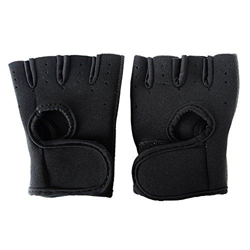 1Paar Unisex Half Finger kurz Handschuhe Rutschfest atmungsaktiv UV-Schutz Sport Fingerlose Fäustlinge für Herren Gym Training Radfahren Reiten Outdoor Gr. XL schwarz