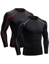 Niksa 2 Pezzi Fitness T-Shirt Maglia Manica Lunga Compressione Uomo Maniche Corte Asciugatura Rapida Maglia da Sport per Corsa, Palestra 1059 (L Fit Chest 37-39 Manica Lunga Nero Grigio+Nero Rosso)
