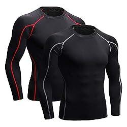 Niksa Funktionsshirt Herren Kurzarm Langarm 2 Stück Kompressionsshirt Männer Laufshirt Sportshirt mit Rundhalsausschnitt Fitness XL