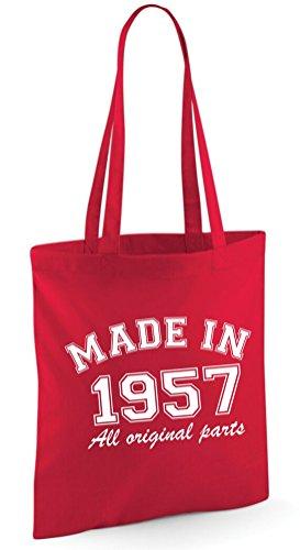 Made in 1956All Original Parts 60. Geburtstag Geschenk Tasche Edward Sinclair Schultertasche rot