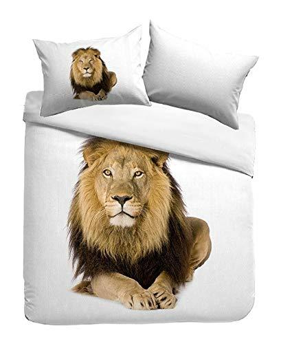 Kayori Sognamo George Baumwollbettwäsche 135x200+80x80cm Farbe Weiss I Löwe Lion I Reißverschluss I Reine Baumwolle I Organic I Fair Trade I Bio (König Baumwolle Kissen)