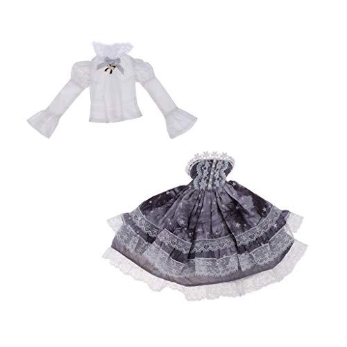 P Prettyia Schöne Mädchen Prinzessin Kostüm Kleidung Anzug Outfit Für 1/4 Bjd Puppen - Grau Kleid