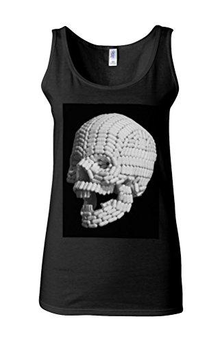 Skull Pill Head Medicine Novelty White Femme Women Tricot de Corps Tank Top Vest *Noir