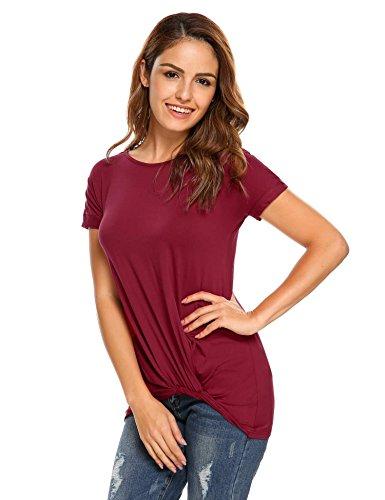 Zeagoo Damen Elegantes Wasserfall Kurzarmshirt mit Rundhals Stretch Ballerina Oberteile Sommer T Shirt Weinrot