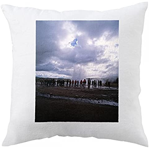 Pillow with People gathering around an erupting geyser, cloudy sky