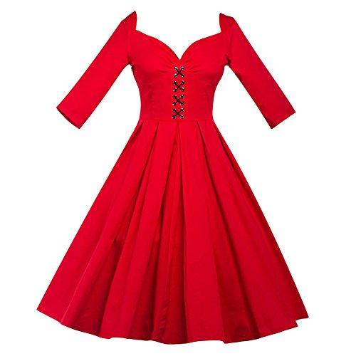 JOTHIN Damen Einfarbige V-ausschnitt Faltenrock Kleid Frauen Retro 3/4 arm Bandage Partykleid Rückenfreie Bowknot Kleider Rot