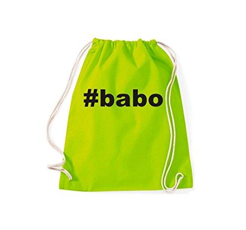 Turnbeutel #BABO Hashtag Gymsack Kultsack Lime