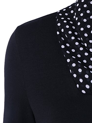 Yiiquan Donna Maniche Lunghe Colletto a V Puntino Camicetta Maglioni Irregolare Jumper Pullover Camicetta Nero
