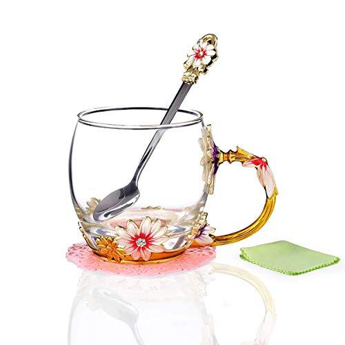 YBK Tech Creative Blume Glas Becher Crystal Glas Tee Tasse mit Griff für heiße Getränke, Eistee, Naked Saft–Chrysanthemum Small (320ml) with Gift Box