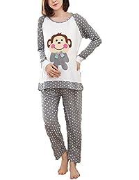 Bold N Elegant Cute Champ Monkey Grey Polka Dot Soft Cotton Maternity Sleepwear Sets Pregnancy Night Suit Night Dress Feeding Nursing Pyjama Set
