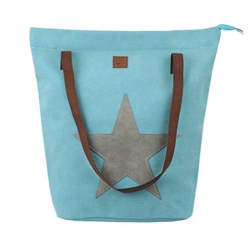 Cleostyle Damen Sommer Shopper in praktischer mittlerer Größe 40x37x16cm Bag CL 507 Türkis