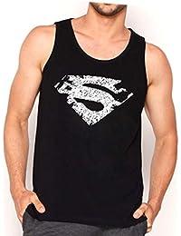 Veirdo Printed Sleeveless Black Round Neck Men's Cotton Tshirt /Vest - Superman