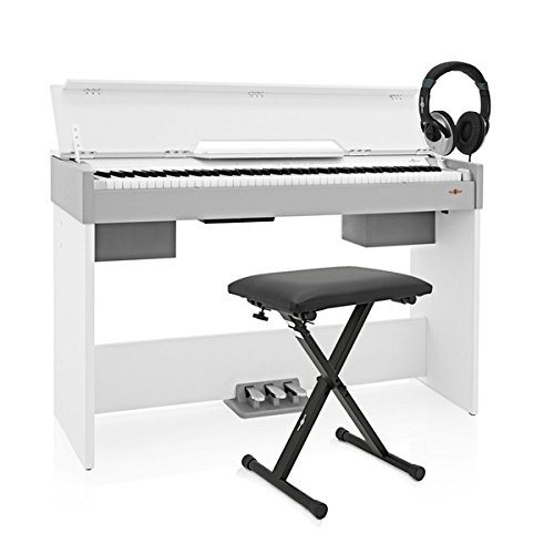 Piano Digital Compacto DP-7 de Gear4music + Accesorios - Blanco