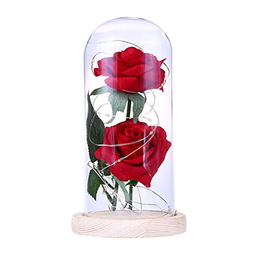 xMxDESiZ Romantic Rose LED Glass Bottle Lamp Night Light Home Room Decor Valentine Gift Beige - Hibiskus-blumen Papier