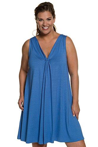Ulla Popken Damen große Größen bis 60 | Kleid | Longtop aus Jersey | Minikleid mit V-Ausschnitt, Rückenausschnitt & Ärmellos | Stretch-Komfort | Regular Fit | ultramarin 42/44 710097 76-42+ (Kurze Jersey Robe)