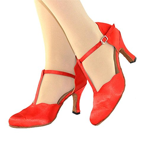 frauen sandalen geschlossene zehe high heel satin leder wildleder soft soles t-strap gürtelschnalle salsa latin samba tango ballroom dance schuhe rot . c . 34