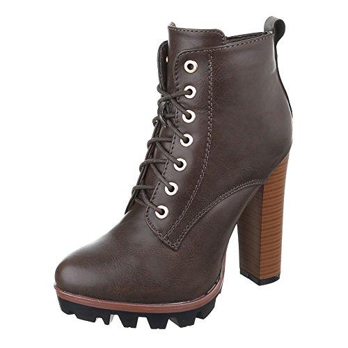 Ital-Design High Heel Stiefeletten Damen Schuhe Schlupfstiefel Pump High Heels Reißverschluss Stiefeletten Grau Braun, Gr 36, F83A-