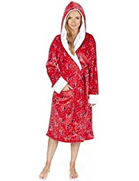 d299d8cec0 Womens Supersoft Fleece Winter Dressing Gown Ladies Hooded Animal Print Robe