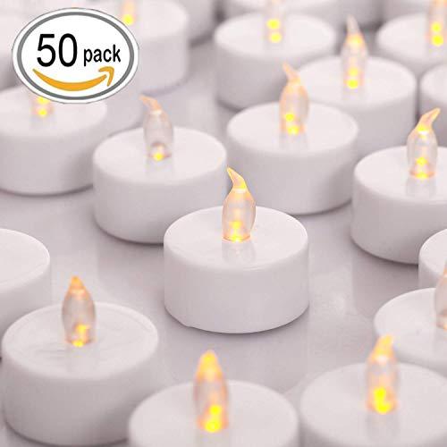 HANZIM LED Kerzen, 50 LED Flammenlose Kerzen, Weihnachten LED Teelichter, Elektrische Teelichter Kerzen für Halloween, Weihnachten, Party, Bar, Hochzeit (Flicker Gelb)
