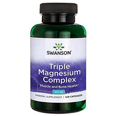 Swanson Triple Magnesium Complex Capsules, 400 mg, Pack of 100