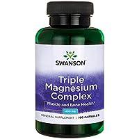 Swanson - Complejo de Magnesio (Óxido, Citrato & Aspartato) 400mg, 100 Cápsulas - Triple Magnesium Complex Capsules.