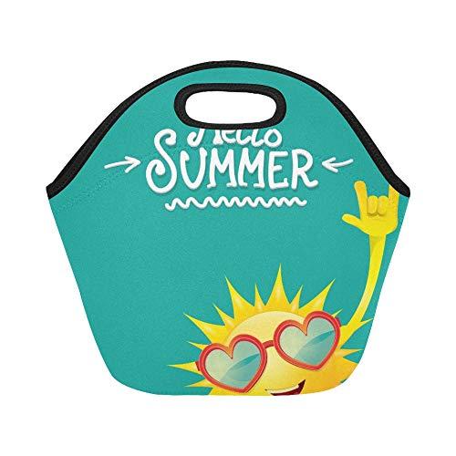 Isolierte Neopren-Lunch-Tasche Hello Summer Rock N Roll Poster Große, wiederverwendbare, thermisch dicke Lunch-Tragetaschen Für Brotdosen Für den Außenbereich, Arbeit, Büro, Schule