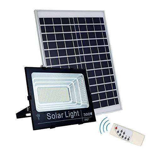 LED Solar Flood Lights, 25W-300W IP67 im Freien wasserdichte Wandleuchte Intelligent Remote Control + Light Control, 5M wasserdichtes Kabel für Garten, Hof, Auffahrt,6000k,300W -