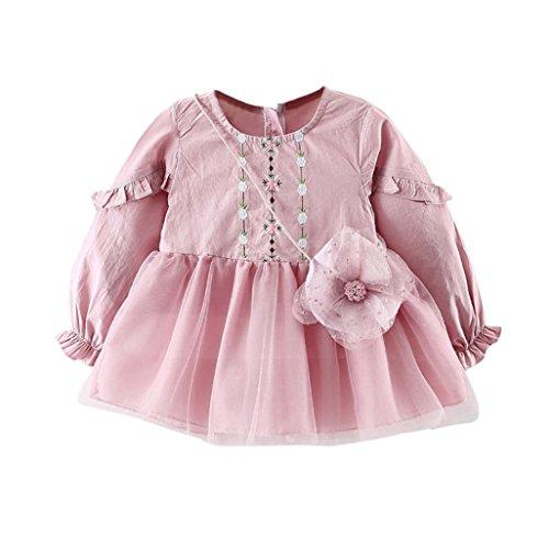 Baby Kleider Longra Kleinkind Kinder Mädchen Blume Stickerei Blase Kleid Prinzessin Grenadine Kleid + Bag Set Mädchen Kleider festliche kleider Mädchen Babykleidung (Pink, 90CM 18Monate) (Blase Rock Floral)
