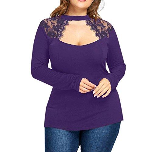 TWIFER Damen Langarmshirt Plus Size Spitze Beiläufige Bluse -