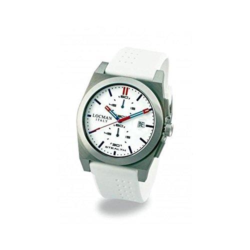 Montre Locman Stealth–tachymètre 020200whfblrsiw au quartz (Batterie) acier Quandrante Blanc Bracelet Silicone