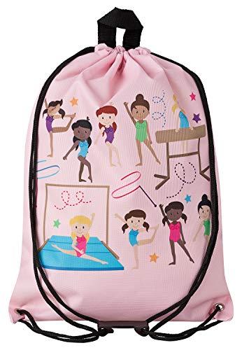 Aminata Kids - Kinder-Turnbeutel für Mädchen mit Tanz-Sport Ballett Ballerina Tanzen Turnerinnen Balletttasche Tänzerin Sport-Tasche-n Gym-Bag Sport-Beutel-Tasche rosa Weiss-e... Ballerina Duffle Bag